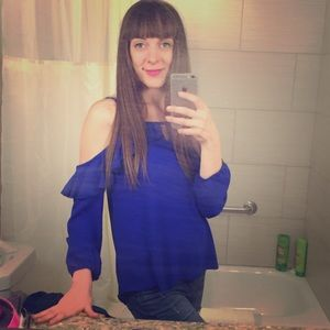 Electric Blue Blouse with Cutouts